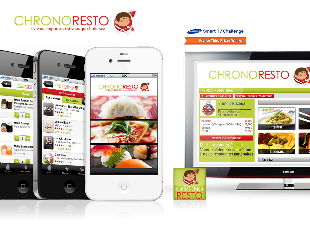L'application Chronoresto sur iPhone et TV Connectee -  - Design by Kermitklein.com - DA Mobile Freelance
