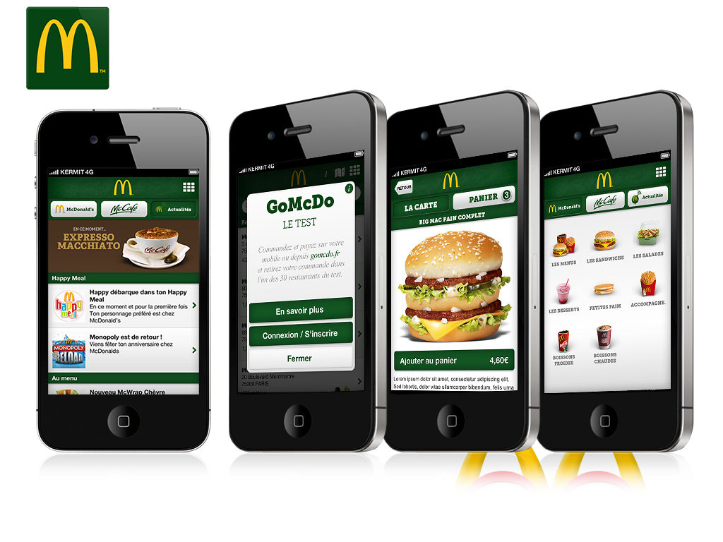 Design de l'application McDonalds France sur iPhone